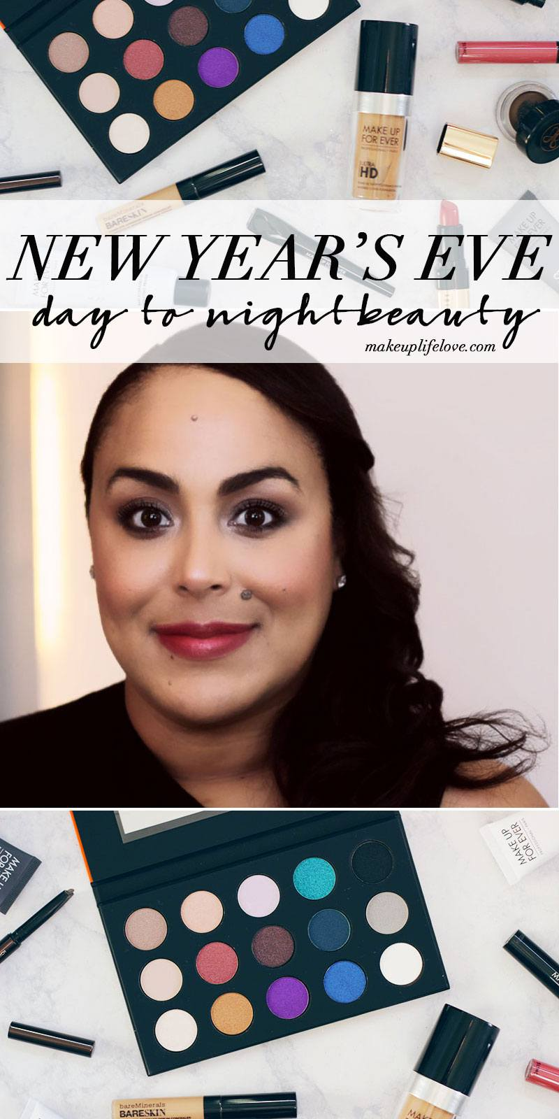 Need a bit of NYE inspiration? Then you came to the right place, hang out with Jamie as she gets NYE ready with this simple New Year's Eve Beauty look. Day to Night Beauty for NYE in 4 easy steps- Makeup Life and Love- New Years Eve- NYE- Make Up For Ever