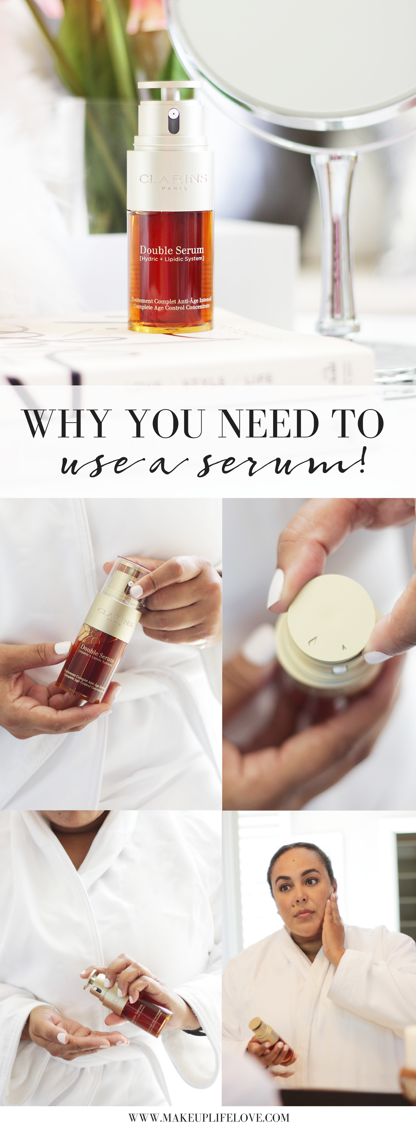 Confused about why you need to use a serum? Here are the hows, the whys and the reasons you should add one to your skincare regimen ASAP! #NextGenSerum #DoubleSerum - Clarins Double Serum