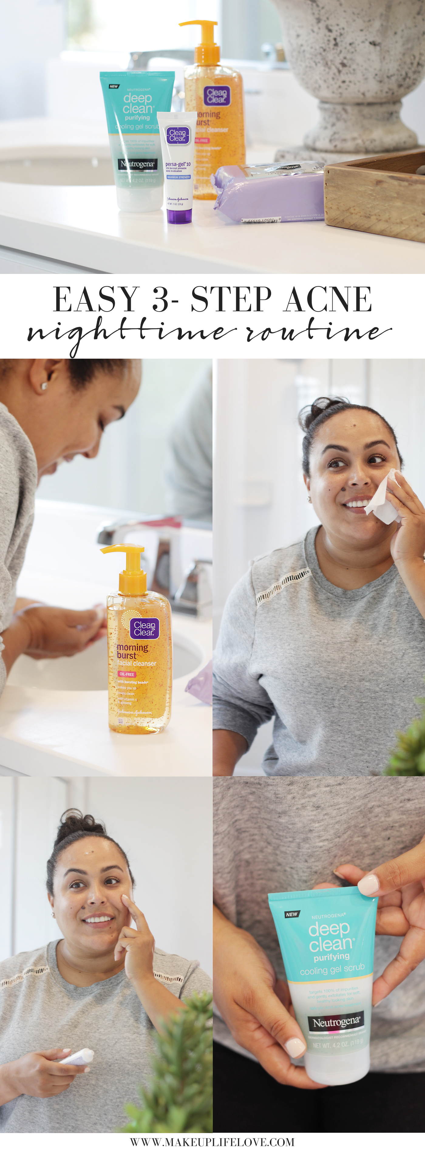 Breakouts SUCK! Time to say goodbye to pesky breakouts and hello to glowing skin. Makeup Life and Love is sharing an EASY 3 Step Acne Nighttime Routine that is perfect for all ages.