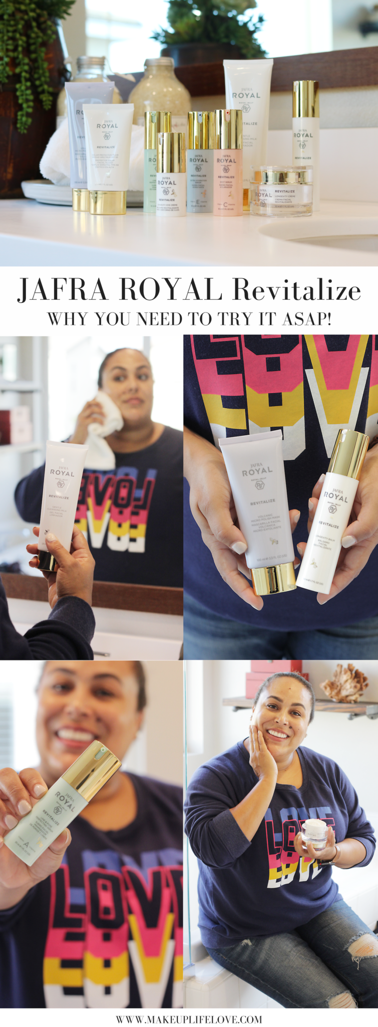 Curious why you need to try JAFRA ROYAL Revitalize? Los Angeles Skincare Blogger Makeup Life and Love is sharing her new found love for JAFRA ROYAL Revitalize here! #JAFRAROYAL #Revitalize #ad