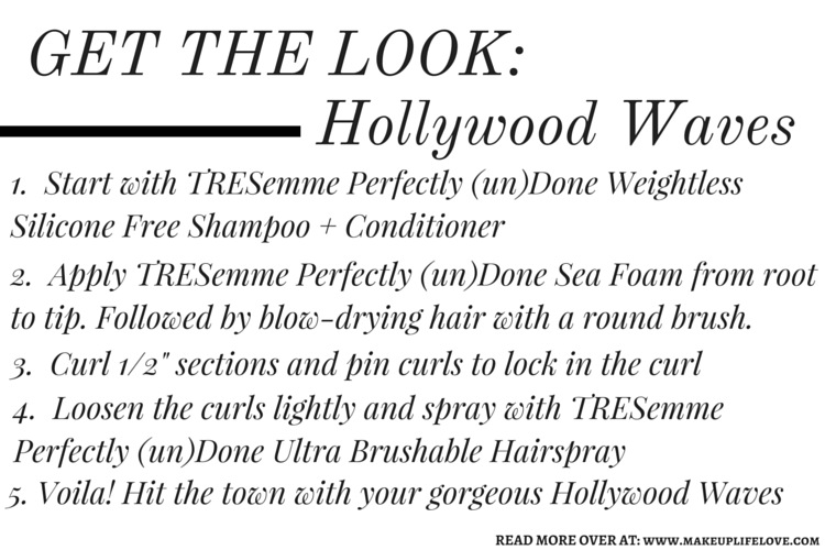 Unleash your inner style and rank in savings this fall with TRESemme. What better time to test out a new gorgeous wavy hairstyle then with the TRESemme Perfectly (un)Done Collection. Get ready for that girls night out with this Hollywood Waves tutorial. - Perfect (un)Done- Makeup Life and Love